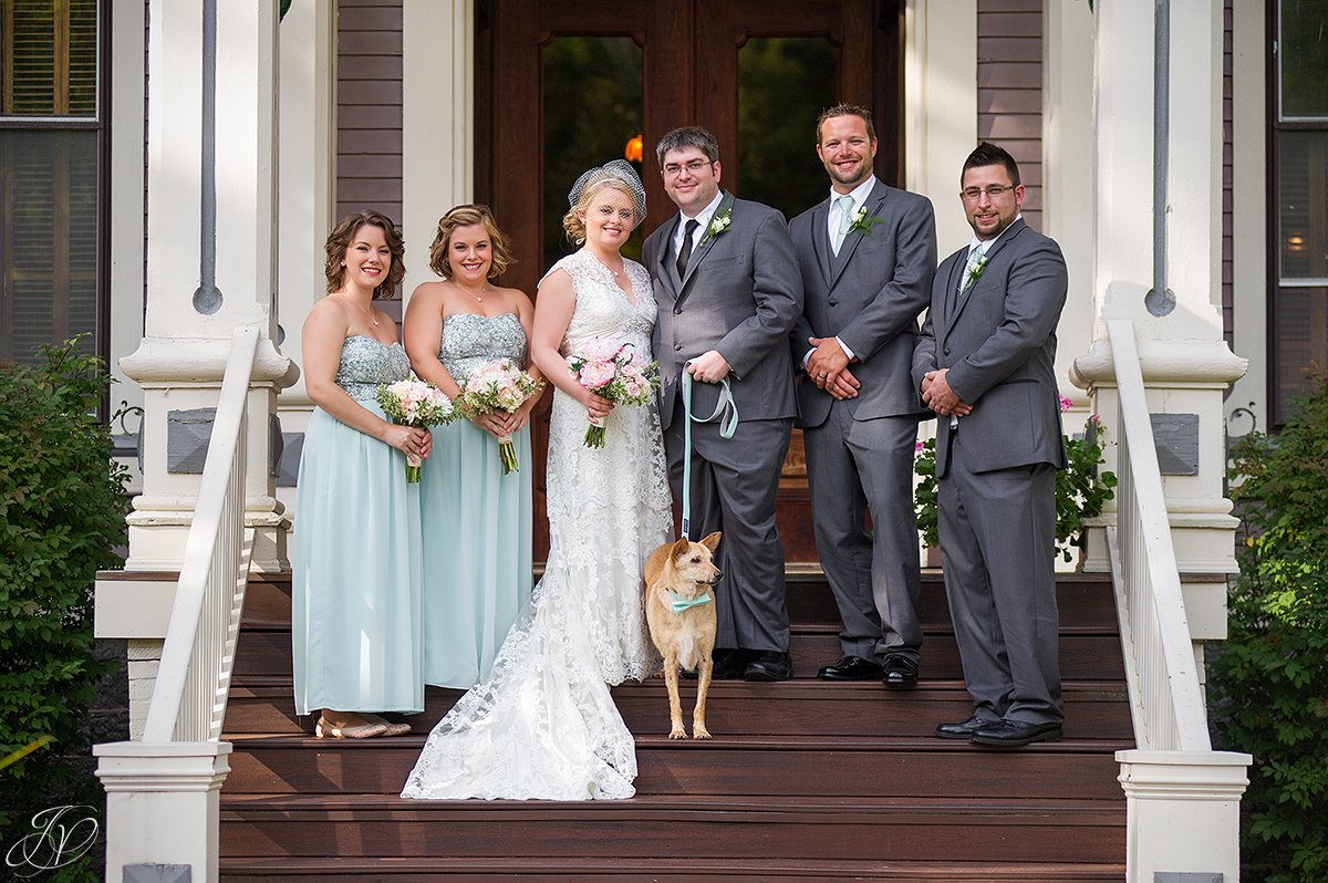 cute photo of bridal party with dog