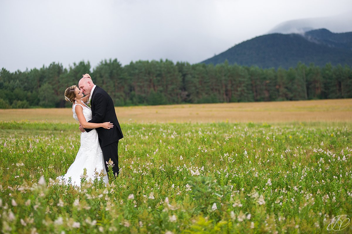 bride and groom lake placid mountain view