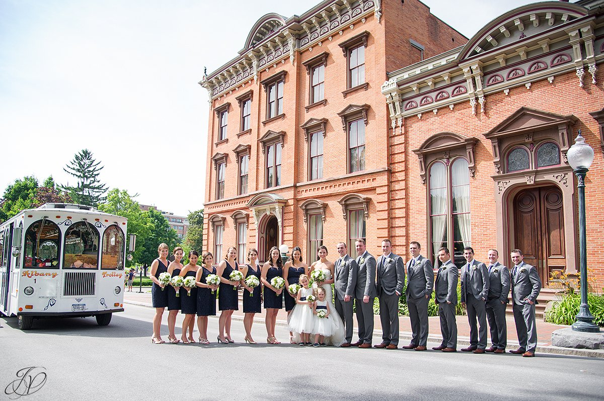 bridal party outside of canfield casino saratoga springs