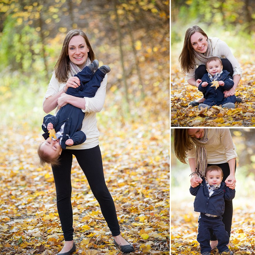 cute fall photos of mother and son