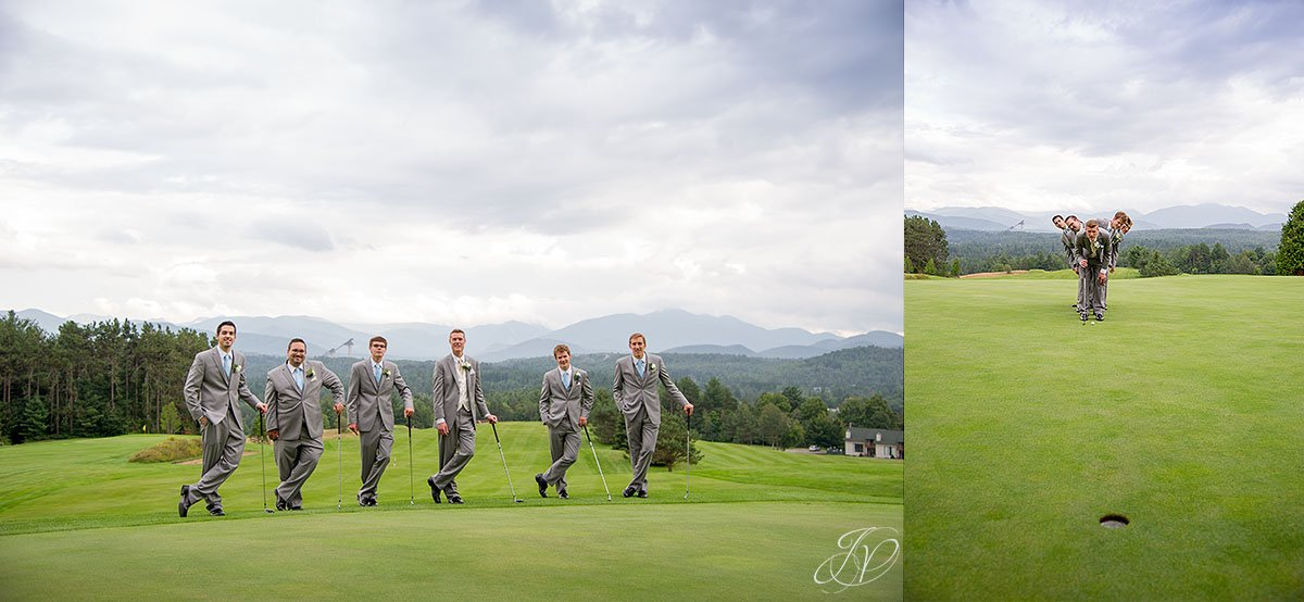 groomsmen with golf clubs lake placid crown plaza