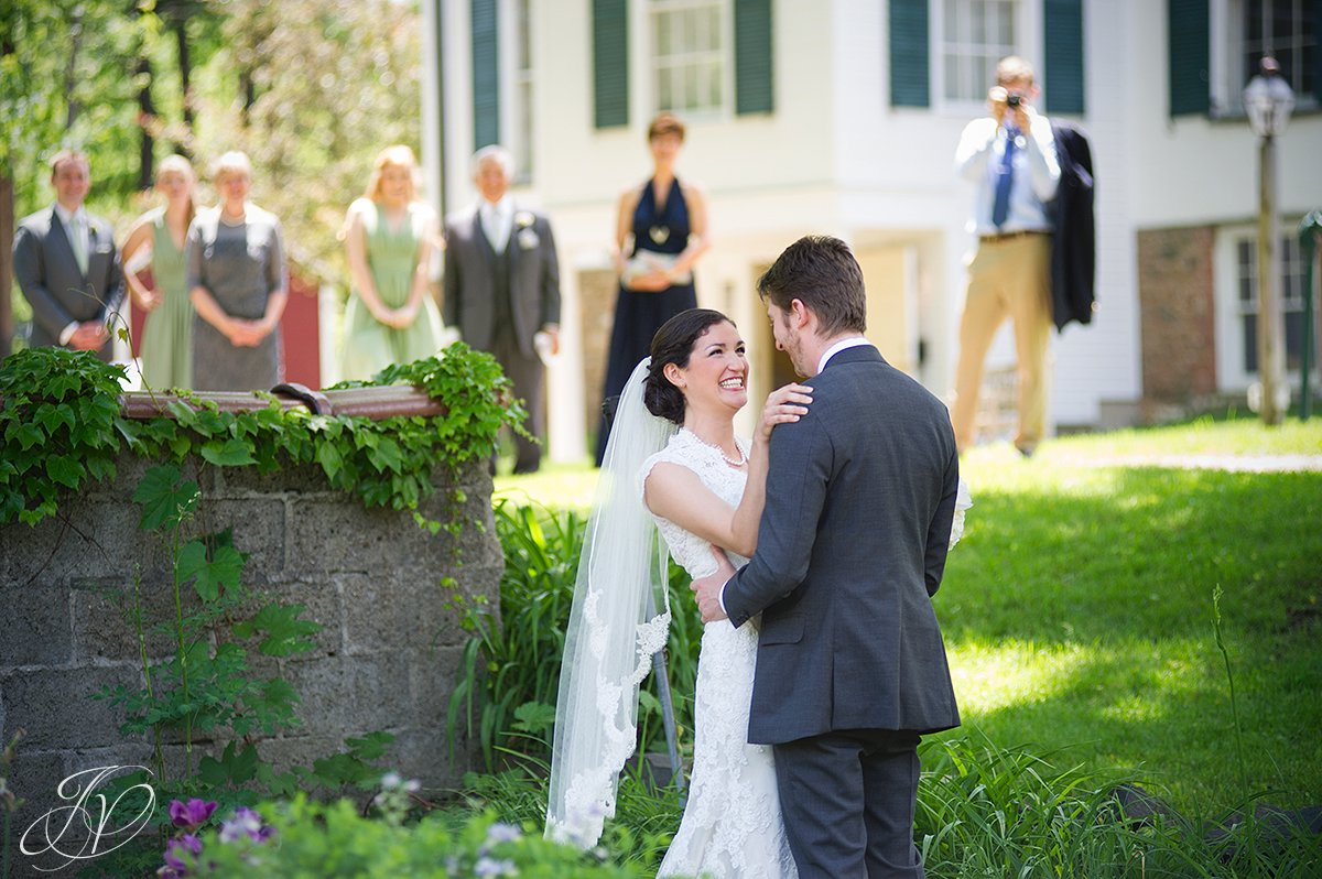 bride and groom outside portrait, pruyn house first look, Wedding at The Pruyn House, Albany Wedding Photographer