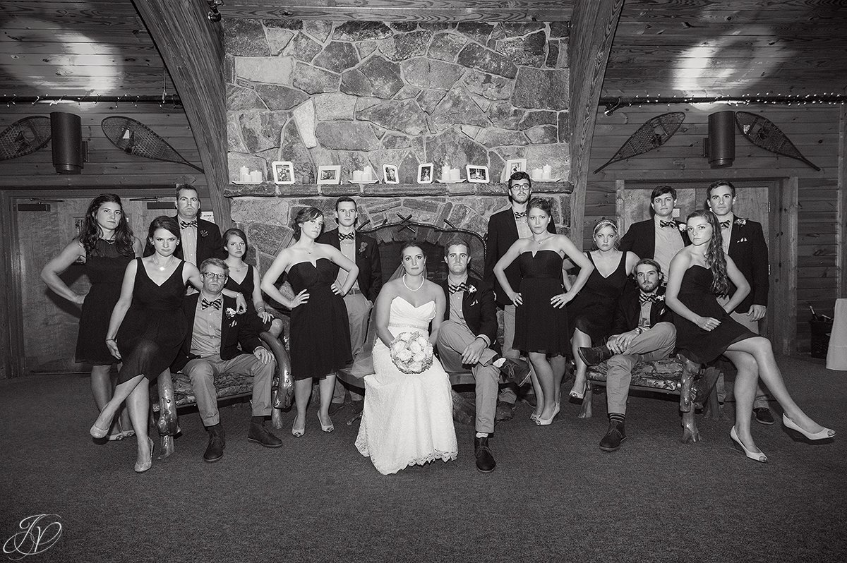 unique black and white bridal party photo