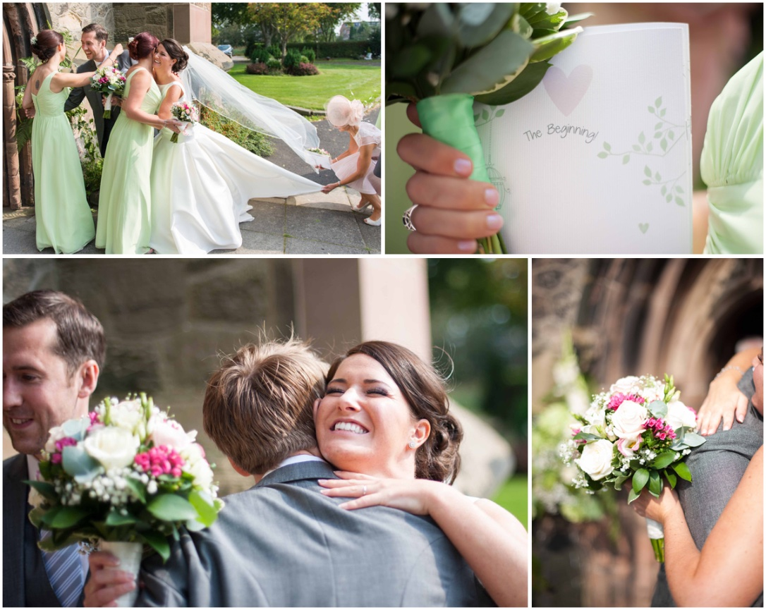 congratulatory kisses outside the church