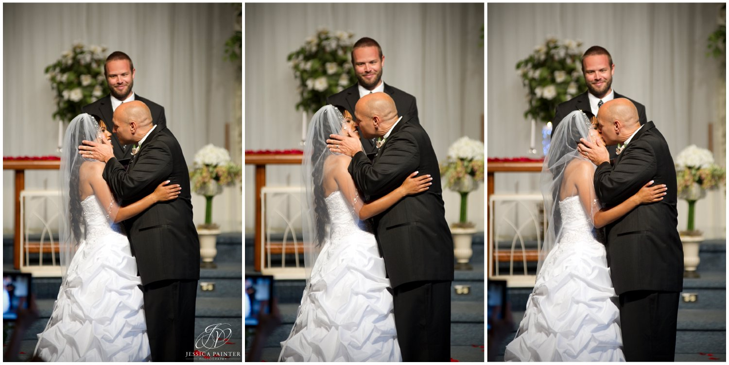 albany wedding, schenectady wedding, bride and groom first kiss, first kiss