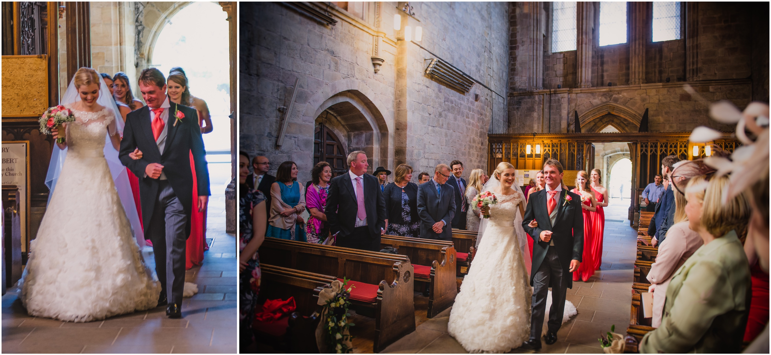 Low light image of wedding taking place at Bolton Abbey