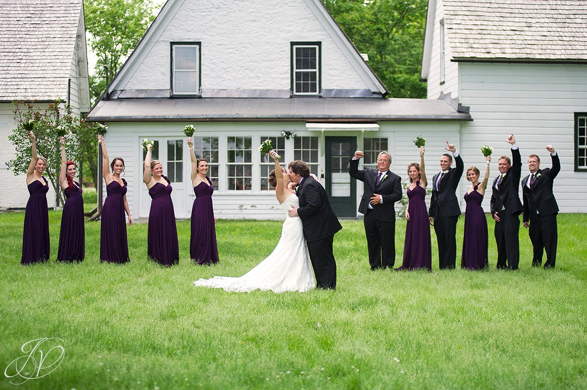 fun outdoor bridal party photo, mabee farms historic site, wedding at mabee Farms, Schenectady Wedding Photographer, Key Hall Proctors reception