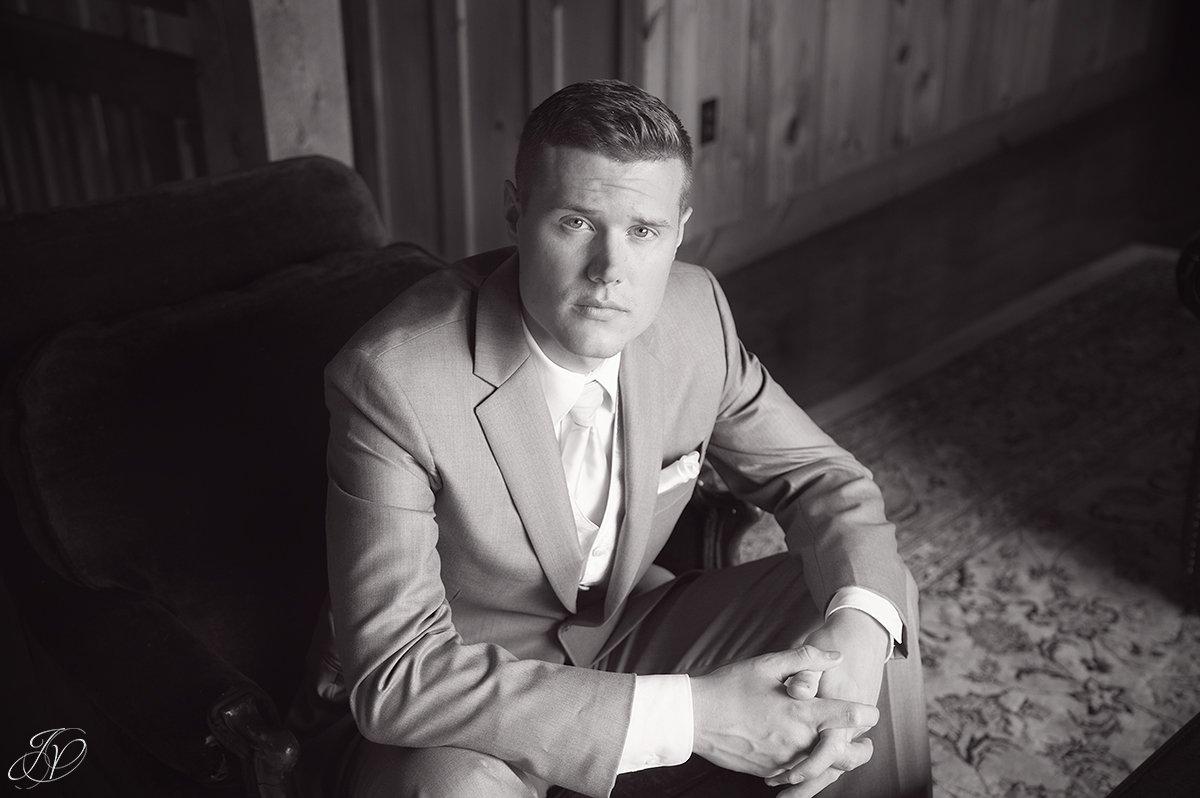 black and white groom portrait GQ groom portrait