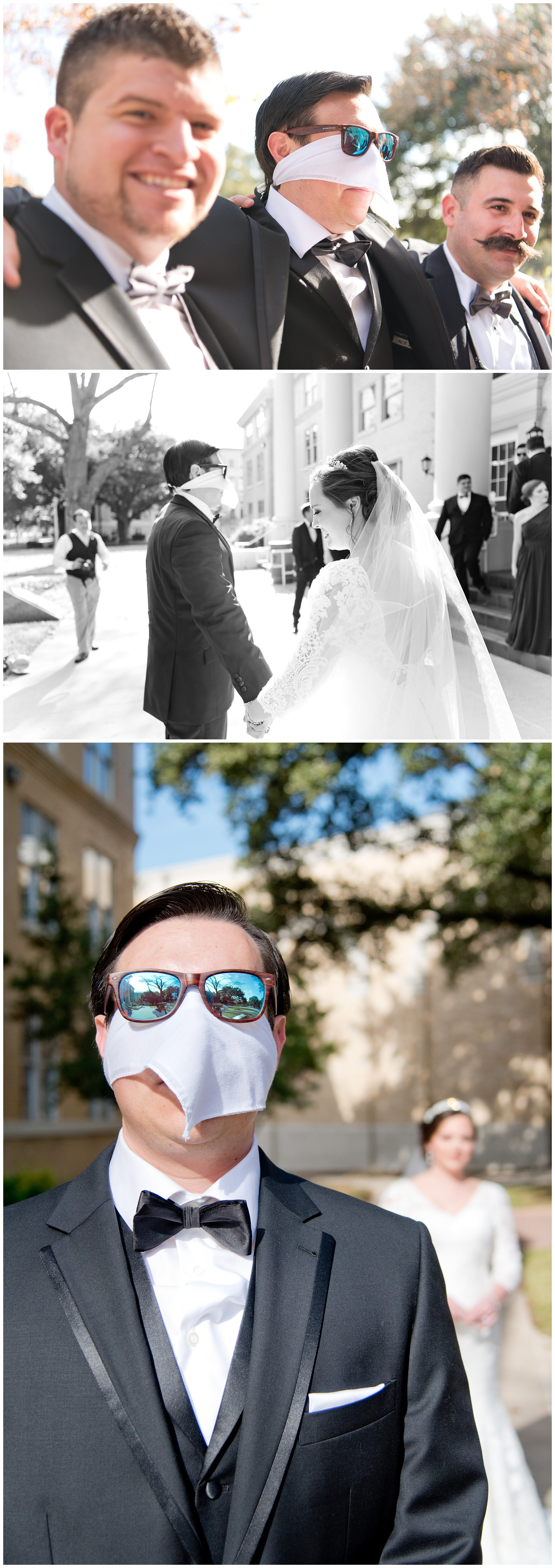 The First Look TCU Campus Fort Worth Wedding