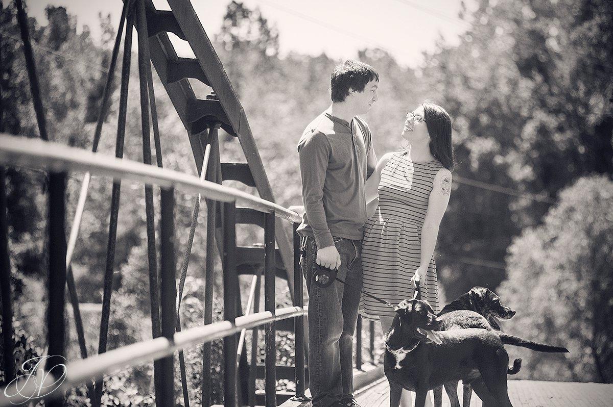 Couple on bridge photo, bridge engagement photo, Saratoga Engagement Photographer, Albany Engagement, Engagement photo and pet, vischer ferry nature preserve