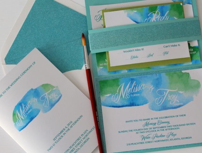 Watercolor Rush.... Melissa and Troy Invitation Suite