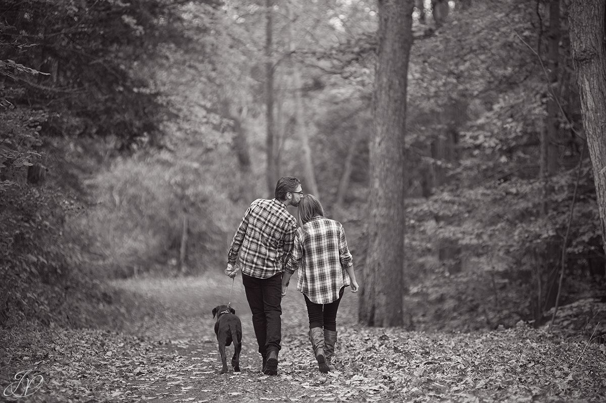 romantic fall engagement pictures forehead kiss