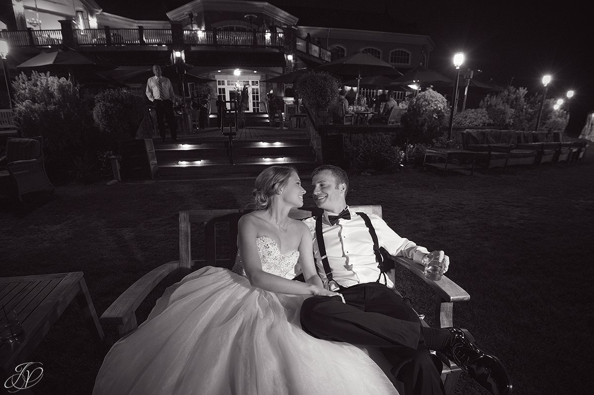 night photo saratoga national exterior black and white bride and groom
