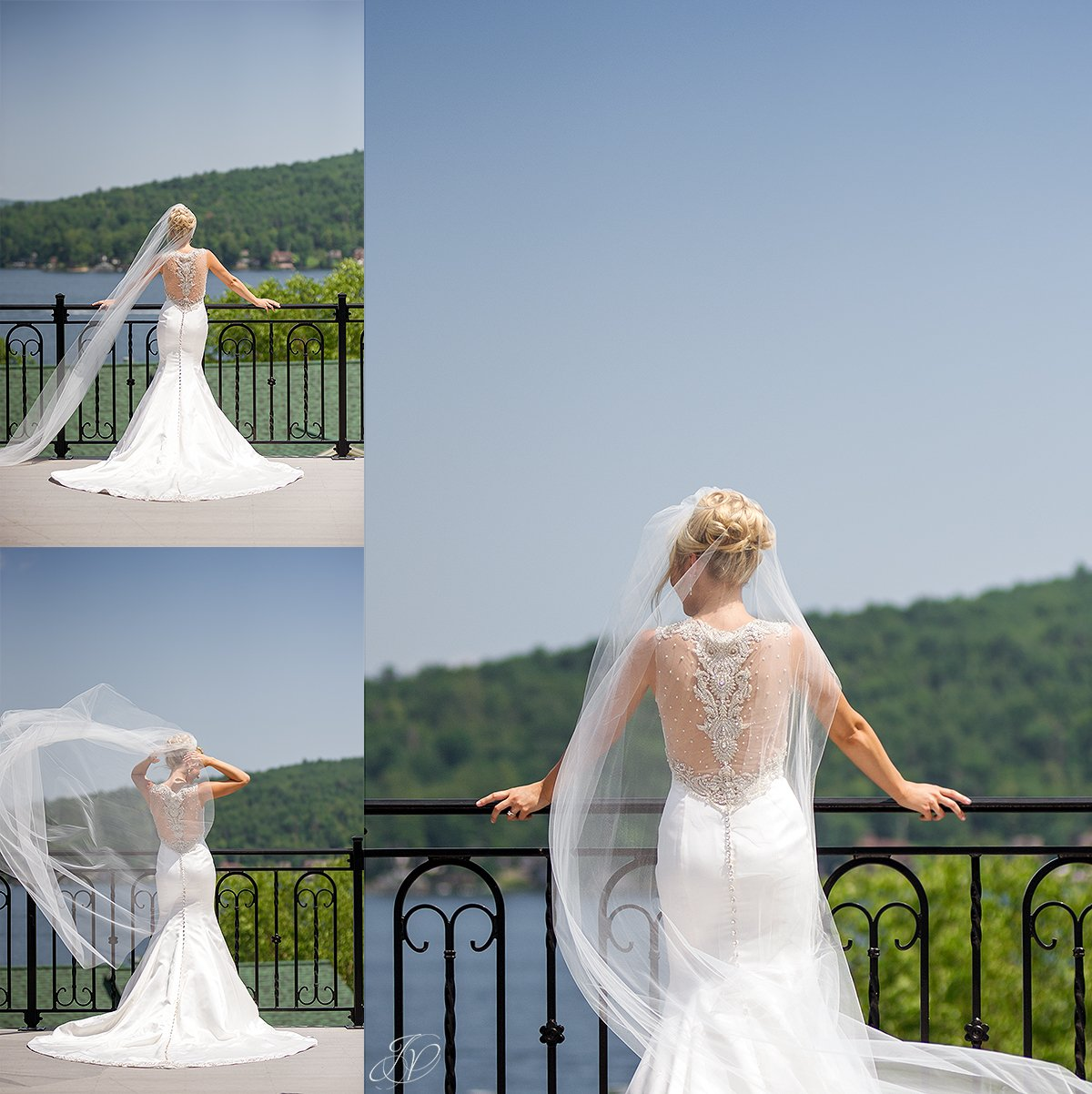 bridal portrait on balcony with long flowy veil, ines di santo bridal gown