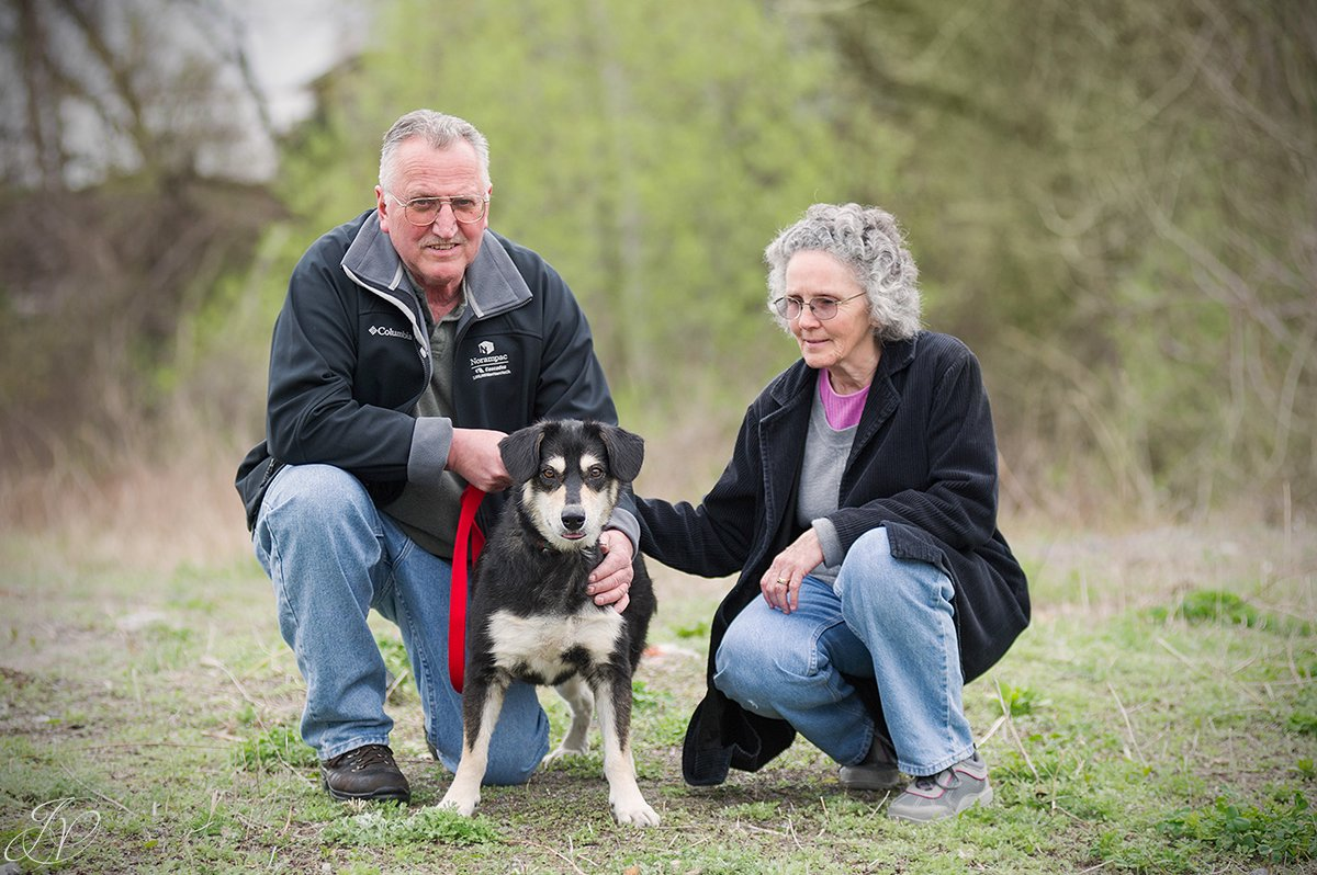 photo of shelter dog with new family