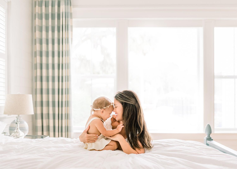 white bedroom inspiration, in-home motherhood session, Rya Duncklee