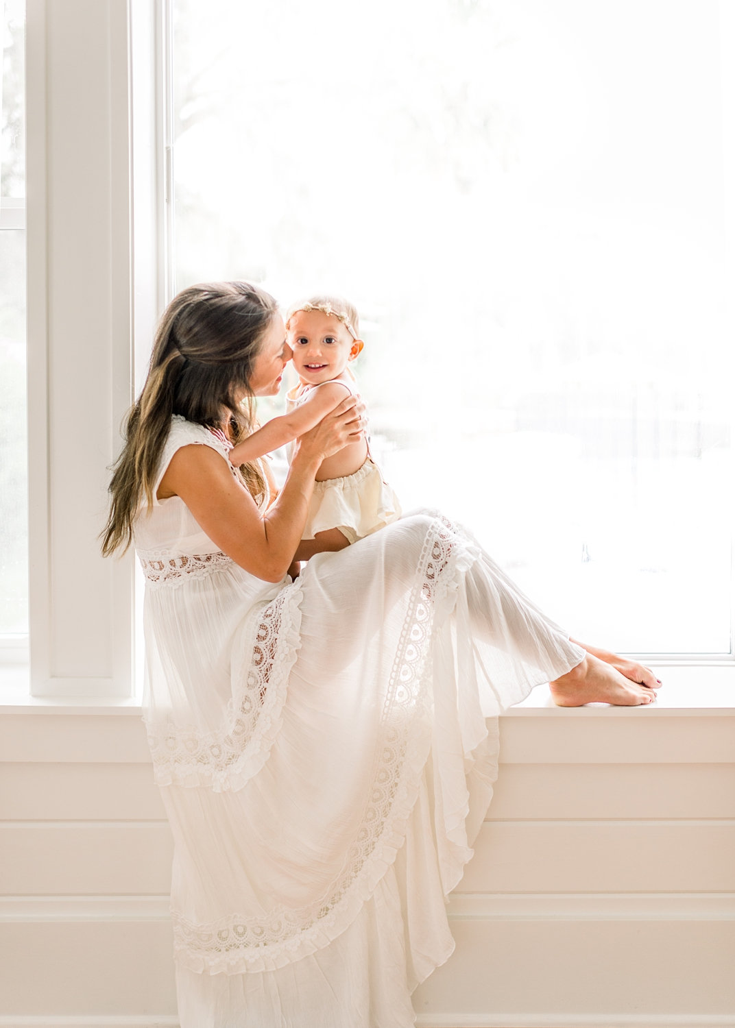 sheer white dress for motherhood portraits, mother and daughter, window portrait, Rya Duncklee Photography