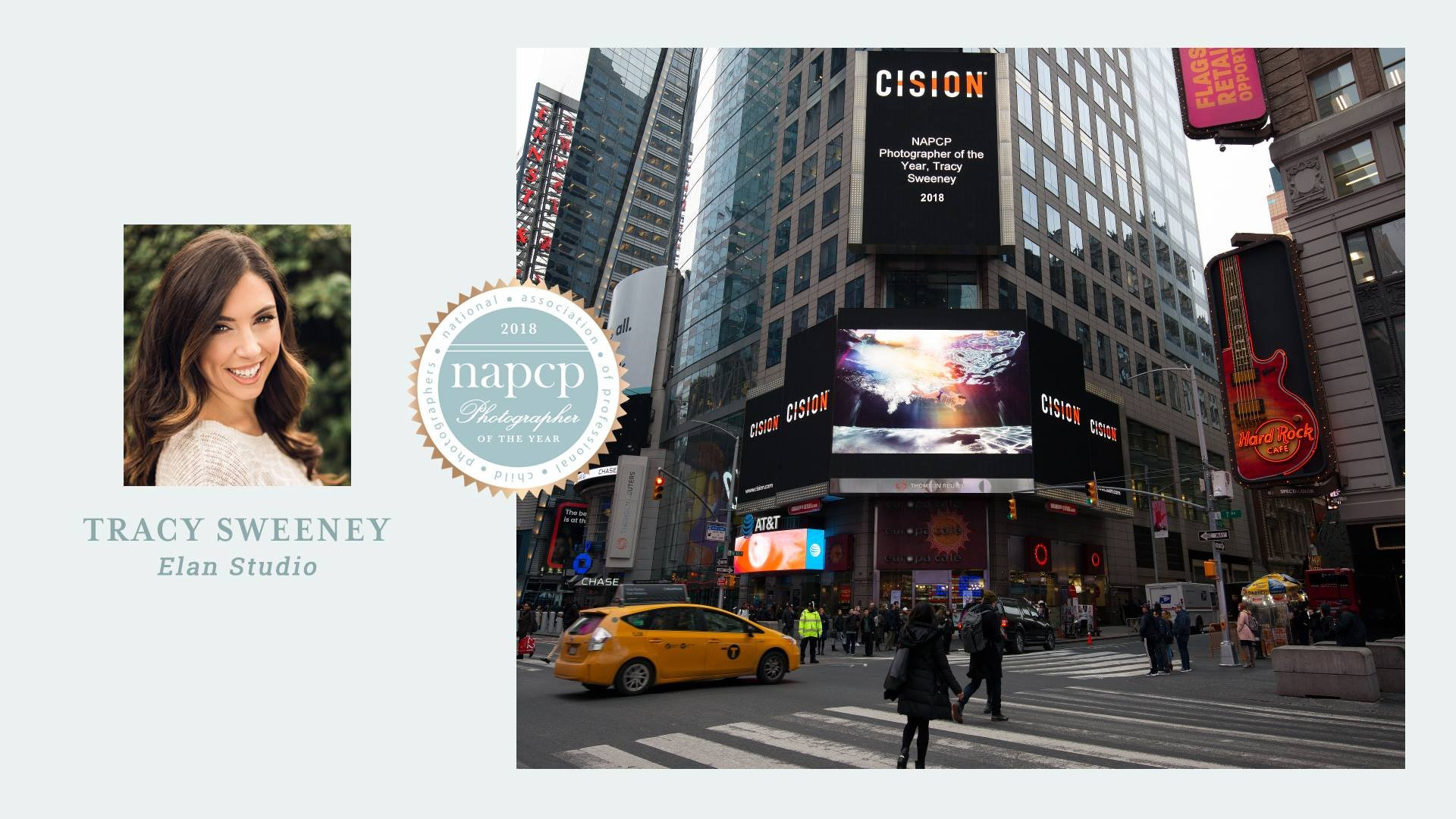 Elan Studio by Tracy Sweeney home banner, Tracy's winning image in Times Square