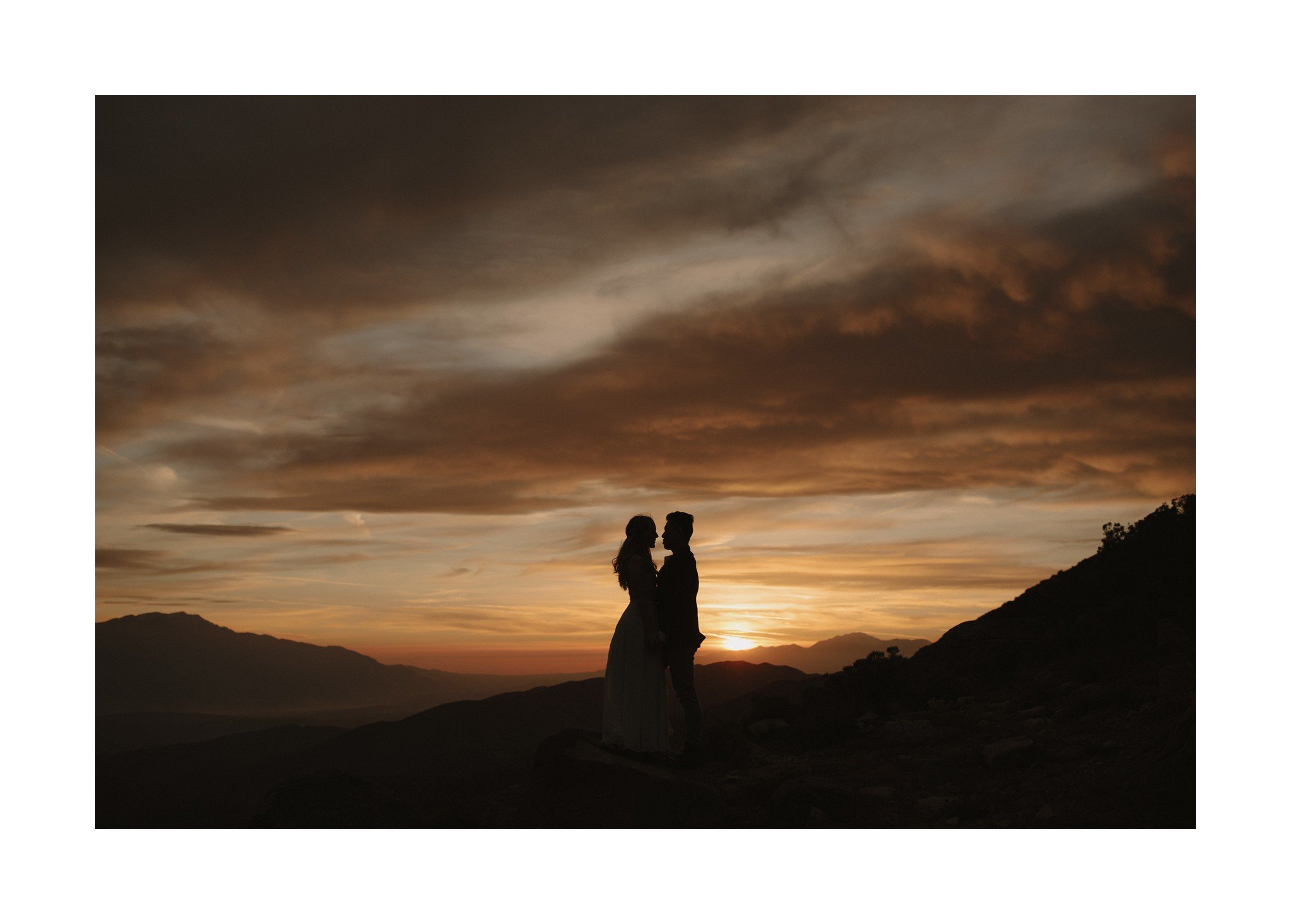 sunset over joshua tree wedding